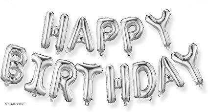 Happy Birthday Foil Balloon Combo 13 Letters, Birthday Party Supplies, Birthday Decoration - Silver Color