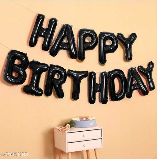 Happy Birthday Foil Balloon Combo 13 Letters, Birthday Party Supplies, Birthday Decoration - Black Color