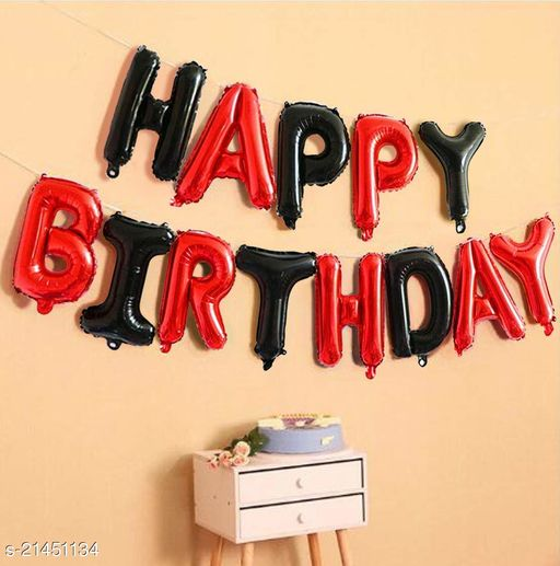 Happy Birthday Foil Balloon Combo 13 Letters, Birthday Party Supplies, Birthday Decoration - Black & Red Color