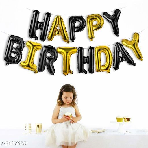 Happy Birthday Foil Balloon Combo 13 Letters, Birthday Party Supplies, Birthday Decoration - Black & Gold Color
