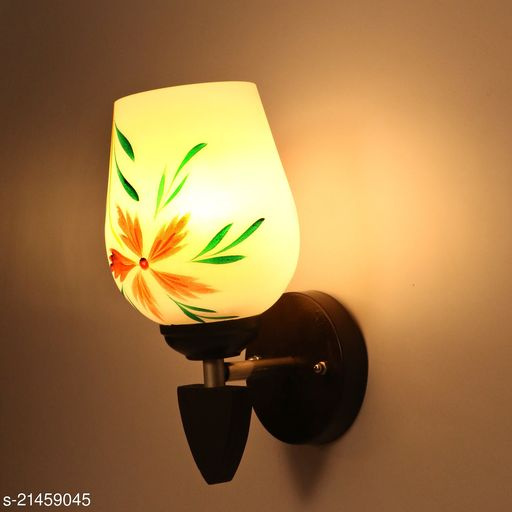 Designer Colourful LED Sconce Glass Wall Light/ Night Lamp WIth Stylish Wood Fitting, 7 Watt, With All Fixture