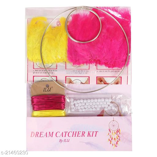 Bs Amor Dream Catcher DIY Craft Making Kit Supplies by ILU Art and Crafts Materials Includes Feathers Metal Rings Set for Kids Hobbies
