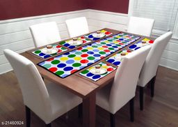 HRUDAYA HOME PRODUCT 6 Seater Stylish Dining Table LAMINATED NON WOOVEN Cover Set, Combo of 1 Dining Table Runner and 6 Dining Table Mats (Multicolor14) ,*Size* Table Runner ( L X W ) - 54 in x 13 in Dining Mat  ( L X W ) - 12.5 in x 19 in