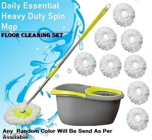 360° Magic Spin Plastic Bucket Mop without wheels (Standard Easy Clean, Poncha Balti),Fancy Easy Clean Floor Mop Bucket (Multicolor) with Microfiber 9 Refill