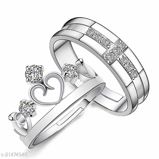 Stylewell Me & You His Her Stainless Steel Crystal Platinum Plated Adjustable Size Unique King and Queen Heart Crown with Diamond Rings for Men's & Women's/husband & Wife/boyfriend & Girlfriend/king Queen/prince Princess with Red Box (Silver)
