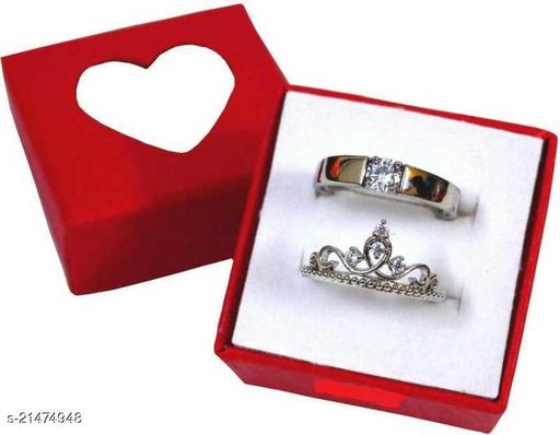 Stylewell Me & You His Her Stainless Steel Crystal Platinum Plated Adjustable Size Unique King and Queen Crown with Multi Diamond Rings for Men's & Women's/husband & Wife/boyfriend & Girlfriend/king Queen/prince Princess with Red Box (Silver)