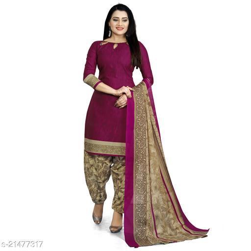 Fab Kudi purple Cotton printed Unstitched Salwar Suit Material