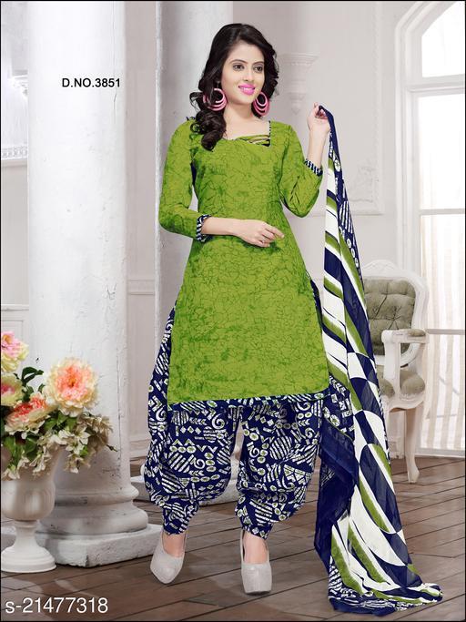 Fab Kudi Light Green Cotton Printed Unstitched Salwar Suit Material