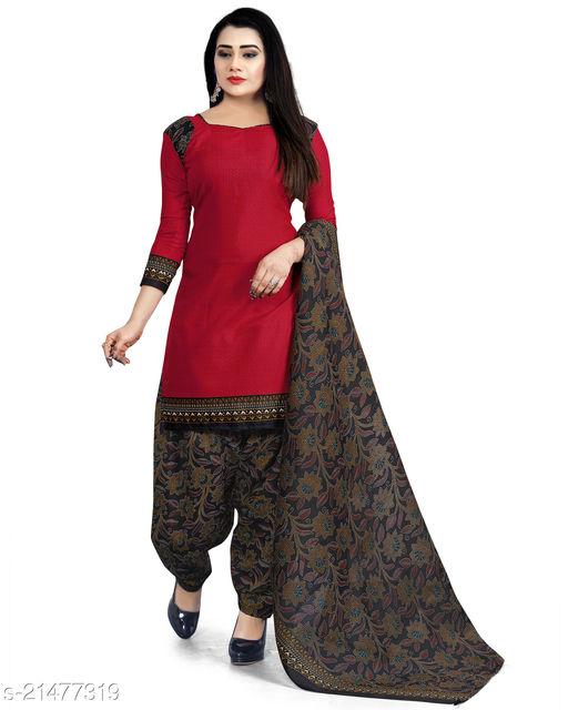 Fab Kudi Red Cotton Printed Unstitched Salwar Suit Material