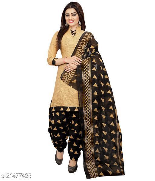 Fab Kudi Yellow Cotton Printed Unstitched Salwar Suit Material