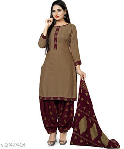 Fab Kudi Brown Cotton Printed Unstitched Salwar Suit Material