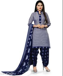Fab Kudi Light Blue Cotton Printed Unstitched Salwar Suit Material