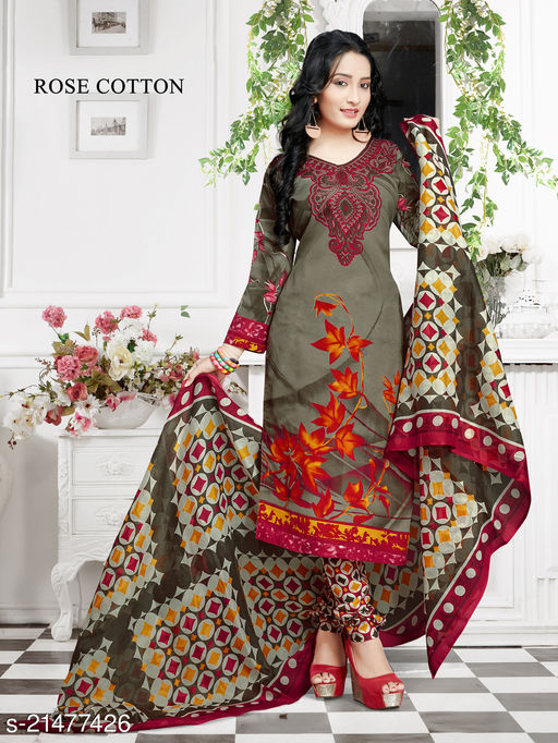 Fab Kudi Olive Green Cotton Printed Unstitched Salwar Suit Material