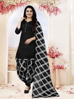 Fab Kudi Black Cotton printed Unstitched Salwar Suit Material