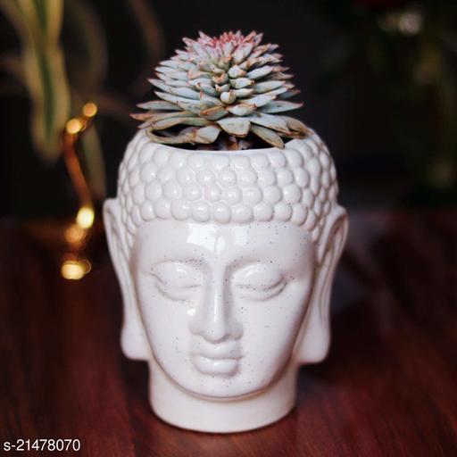 Lasaki Buddha Small White Ceramic Pot for Indoor Plants