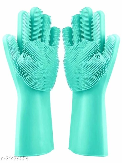 Silicon Scrubbing Hand Gloves for Hand Protection for Dish Washing, Car, Pet Care and Grooming, Bathroom Cleaning
