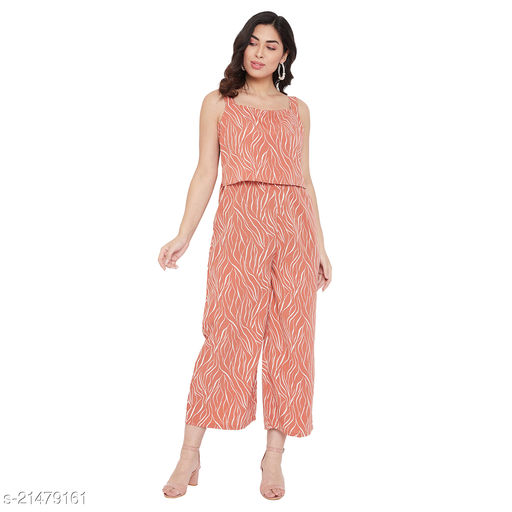 Ruhaan's Womens Summercool Rust and White Printed Jumpsuit