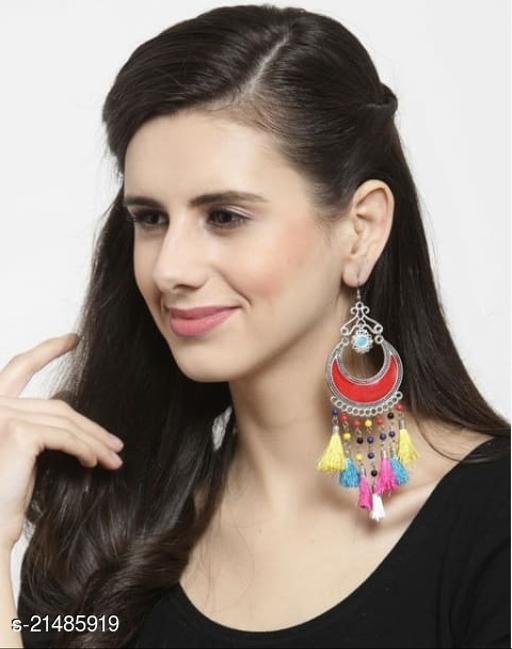 M Fashion Silver-Plated Tasselled Dangle & Drop Earring