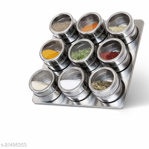 9 Pcs Stainless Steel Magnetic Spice Storage Jar Tins Container with Rack Holder