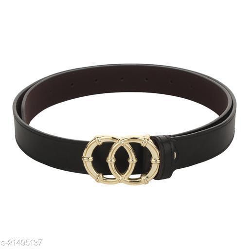 Stylish Women's Black Synthetic Belt