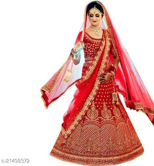 Bridal Designer Women's Red Heavy Satin Semi Stitched Lehenga Choli (GHUGHAT-RED-LEHENGA_Heavy Satin_Red)