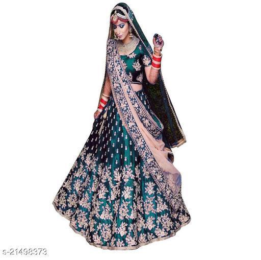 Bridal Designer Women's Green Heavy Tappeta Satin Semi Stitched Lehenga Choli (JANZAR-GREEN-LEHENGA_Heavy Tappeta Satin_Green)