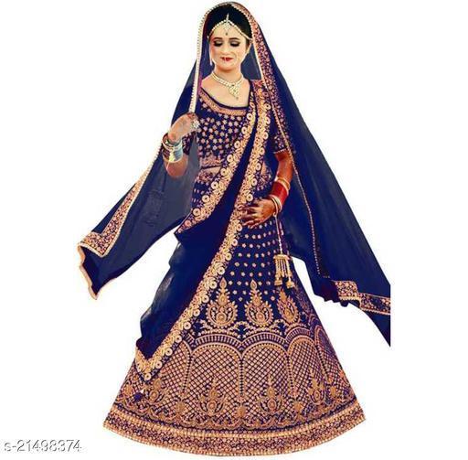Bridal Designer Women's Blue Heavy Satin Semi Stitched Lehenga Choli (GHUGHAT-BLUE-LEHENGA_Heavy Satin_Blue)