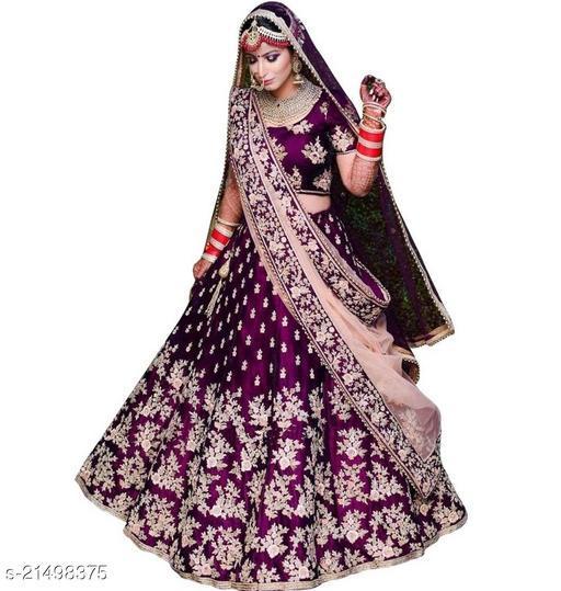 Bridal Designer Women's Purple Heavy Tappeta Satin Semi Stitched Lehenga Choli (JANZAR-PURPLE-LEHENGA_Heavy Tappeta Satin_Purple)