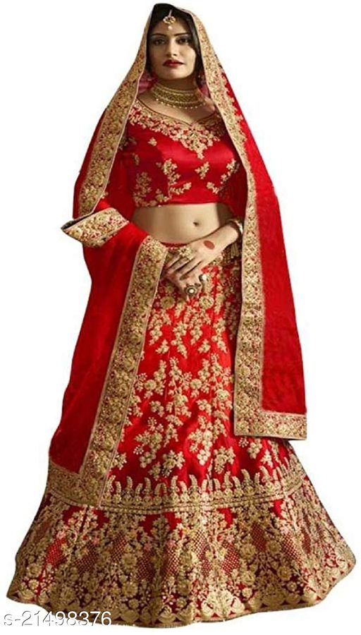 Bridal Designer Women's Red Heavy Satin Semi Stitched Lehenga Choli (DULHAN-RED-LEHENGA_Heavy Satin_Red)
