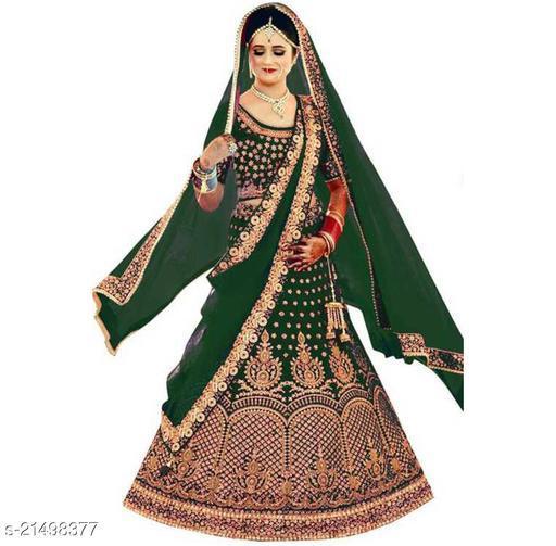 Bridal Designer Women's Green Heavy Satin Semi Stitched Lehenga Choli (GHUGHAT-GREEN-LEHENGA_Heavy Satin_Green)