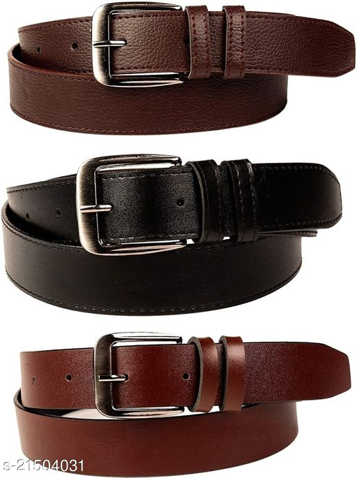 Winsome Deal Multicolor Artificial Leather One Size Formal Belts for Mens