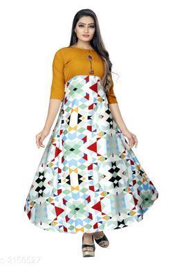 Printed Light Multicolour Maxi Crepe Dress