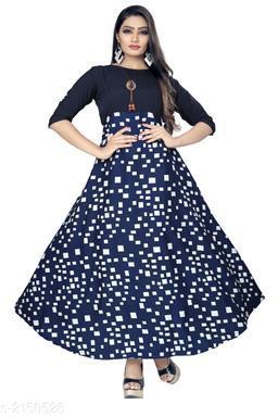 Printed Blue Maxi Crepe Dress