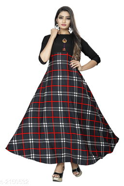 Printed Black Maxi Crepe Dress