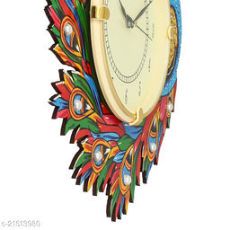 ATIZAYA Radium Wall Clock for Home Living Room Office Wooden(Multi color Peacock) (14 inches*13 inches)