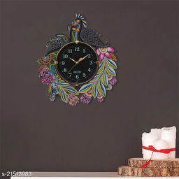 ATIZAYA Radium Wall Clock for Home Living Room Office Wooden(Multi color Peacock) (15 inches*13 inches)