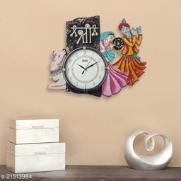 ATIZAYA Wall Clock for Home Living Room Office Wooden(Safa Ganesha) (18 inches x 13 inches)