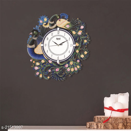 ATIZAYA Wall Clock for Home Living Room Office Wooden(Peacock) (12.5 inches*12.5inches)