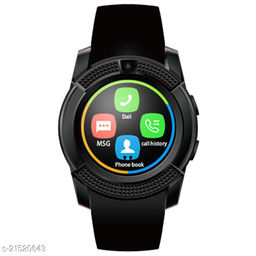 Goosprey V8 Bluetooth Smartwatch Black Compatible with Android and IOS Mobiles