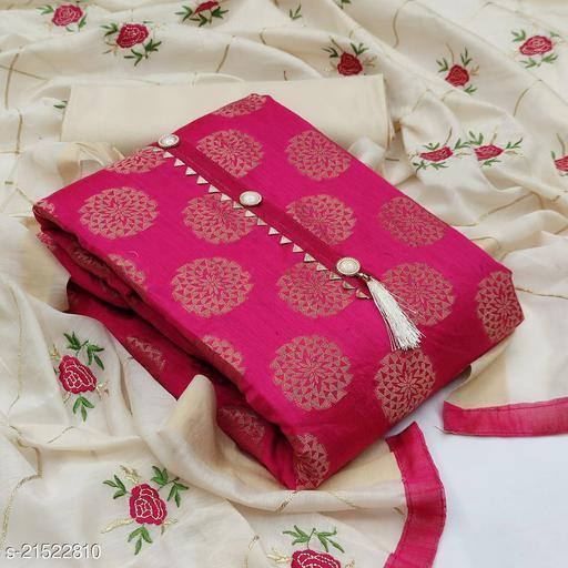 SERONA FABRICS Women's Chanderi Jacquard  Print Unstitched Salwar Suit Dress Material With Embroidered work Duputta