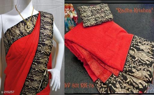 Stylish Chanderi Cotton Sarees (Without Jewellery)