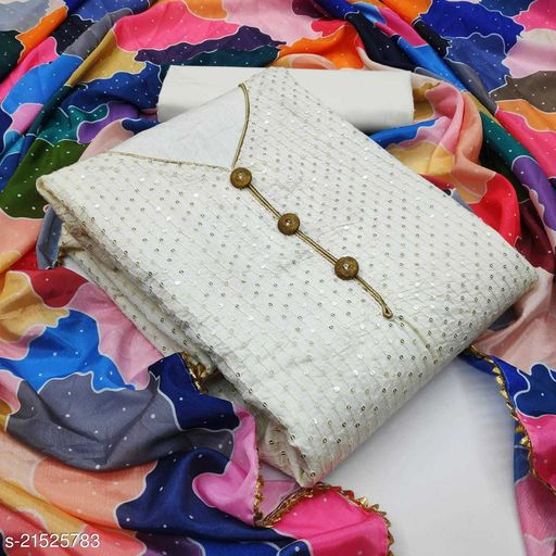 Cotton with Sequence Work White Dress