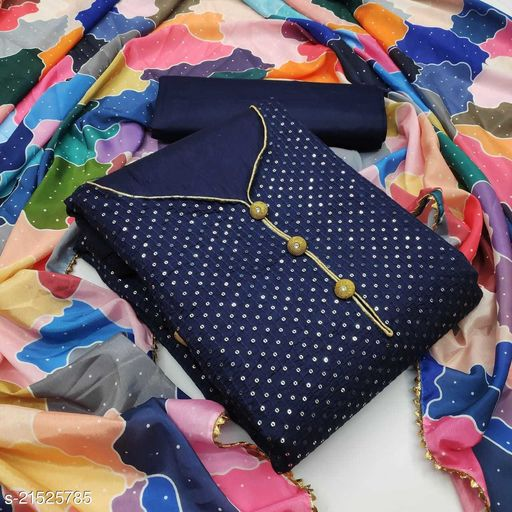 Cotton with Sequence Work Navy Blue Dress