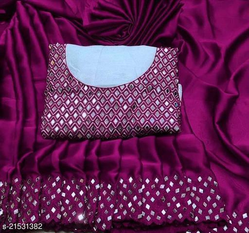 mirror work trendy design silk saree.