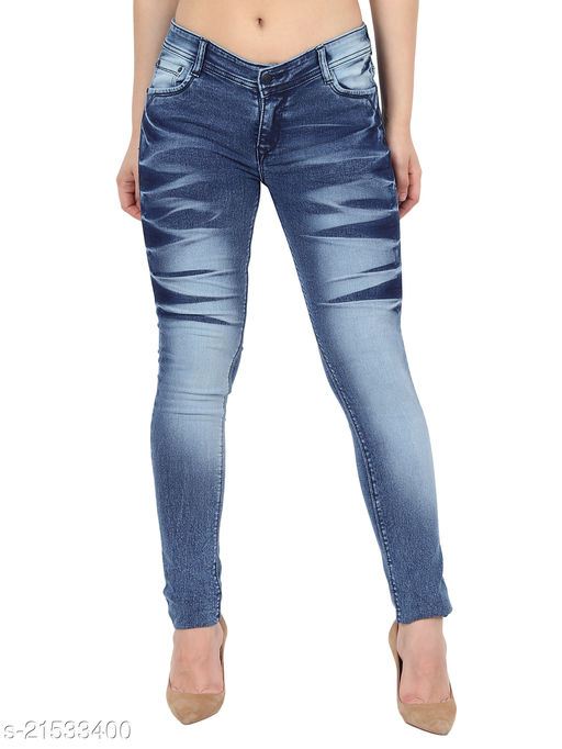 Women Navy Blue Faded Skinny Fit Mid Rise Stretchable Denim Jeans