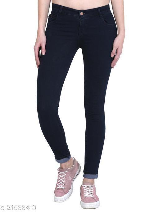 Women Carbon Blue Plain Skinny Fit Mid Rise Stretchable Denim Jeans