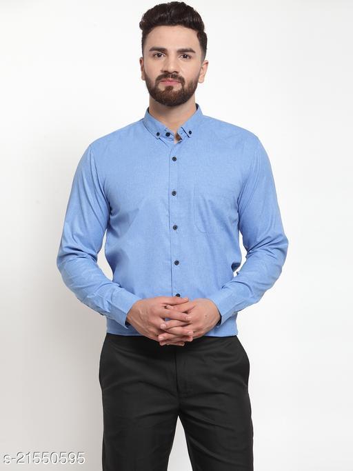 Jainish Men's Cotton Solid Button Down Formal Shirts