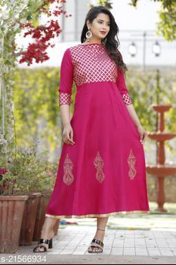 Pink gota work rayon kurti