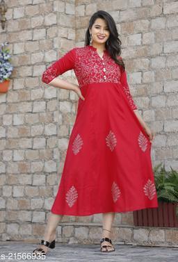 Red rayon block kurti