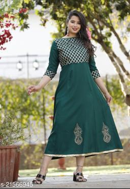 Green gota work rayon kurti Maha Price Drop Sale